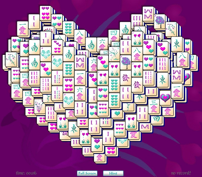 Valentine's Day Heart Mahjong Solitaire.
